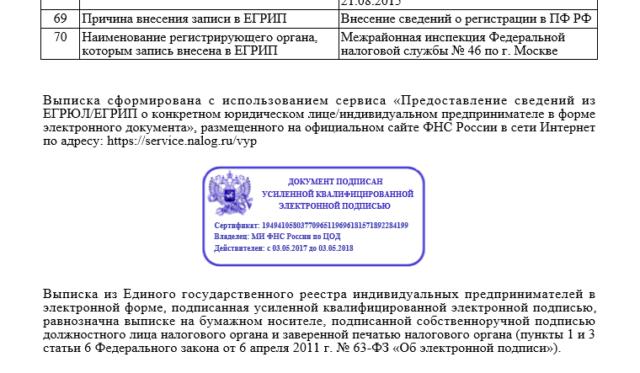 Образец ЭЦП на документе