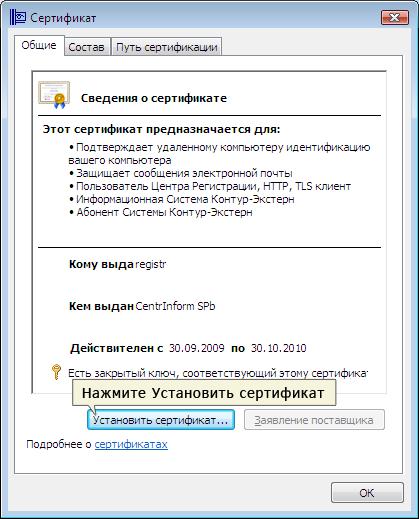 Сведения о Сертификате