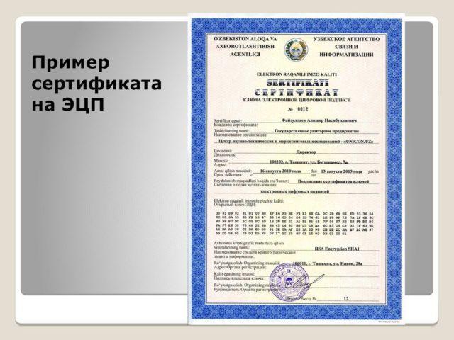 Пример Квалифицированного Сертификата ЭЦП