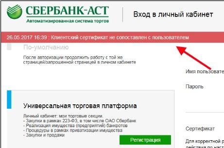 Ошибка на Сбербанк-АСТ
